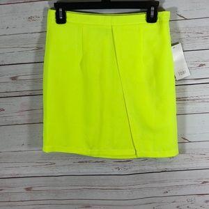 Tobi Neon Yellow Faux Wrap mini skirt sz med new
